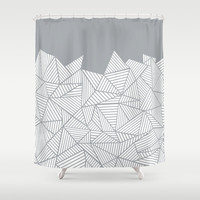 Abstract Mountain Grey Shower Curtain by Project M