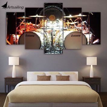5 Piece Canvas Art Music Drums HD Wall Art