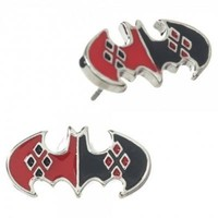 Harley Quinn Batman Logo Stud Earrings