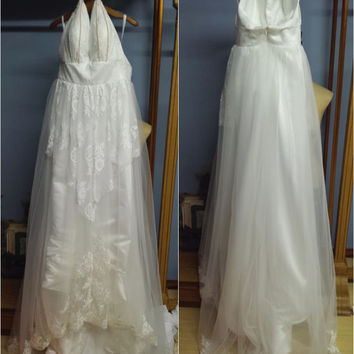 Real Photo Halter V-neck Backless Boho Lace Wedding Dress with Pearls on Chest Custom Made to Order Bridal Gown W066
