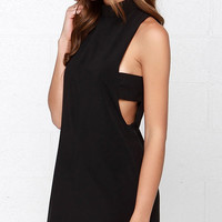 Black Sleeveless Closed Neck Cut-out Mini Dress