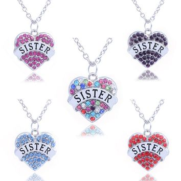 Friend Forever Heart Shaped Series Four-color Pendant Necklace