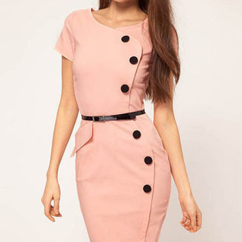 Peach Wrap Button Short Sleeves Midi Pencil Dress