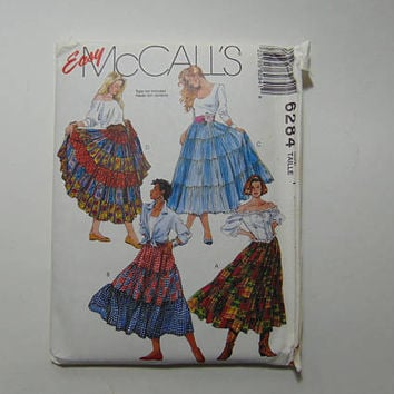 Easy McCall's Sewing Pattern 6284 Misses Tiered Broomstick Skirts Size Y UNCUT