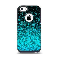 The Black and Turquoise Unfocused Sparkle Print Apple iPhone 5c Otterbox Commuter Case Skin Set