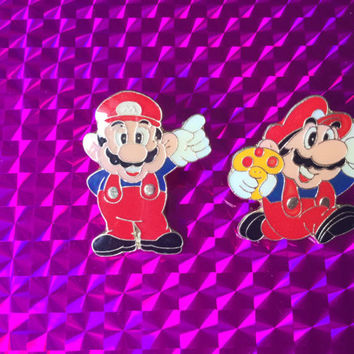 1993 Mushroom and No. 1 Mario Pins! New Nintendo NES Super Mario 3 Metal Glossy Pin Rare Vintage Retro Noa Tanooki Suit Great Gift