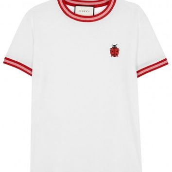 Gucci White ladybird cotton T-shirt