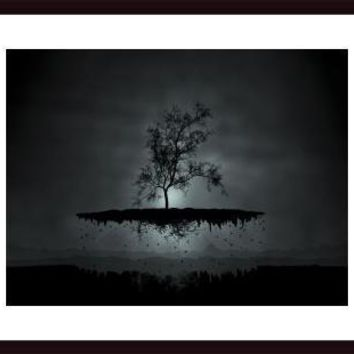 Digitally generated image of a flying tree., framed black wood, white matte