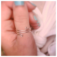 Silver Thumb Ring, Adjustable Wire