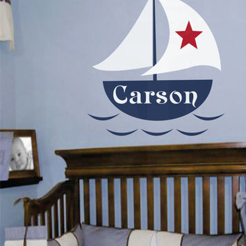 "Nautical Name Decal- Custom Vinyl Wall Name Decal - Monogram Baby Boy or Girl Wall Name Decal with Boat and Stars-nursery 22""H x 27""W"