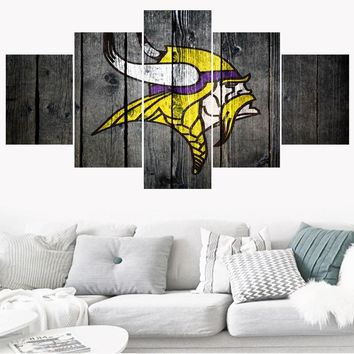 Hot 5 Panels Minnesota Vikings Paintings Wall Art Home Decor Picture Canvas Painting Calligraphy For Living Room Bedroom