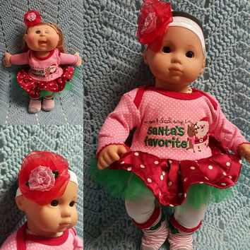 "15 inch Baby Doll Clothes handmade will fit Bitty Baby®  ""I'm Santa's Favorite"" doll outfit dress, leggings, headband reindeer Christmas F2"