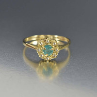 Antique Gold Diamond Halo Emerald Engagement Ring