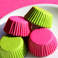 Mini Pink and Lime Cupcake Liners Cake Pop by thebakersconfections