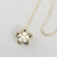 Vintage 14K Yellow Gold Sapphire & Pearl Pendant Necklace Mid Century Flower Pendant Bridal Wedding Fine Jewelry