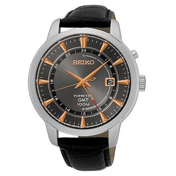 Seiko Mens Kinetic GMT Dress Watch - Black Dial - Stainless Steel - Leather