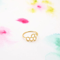 Honey Bee Honeycomb Hexagon Geometric Gold Ring