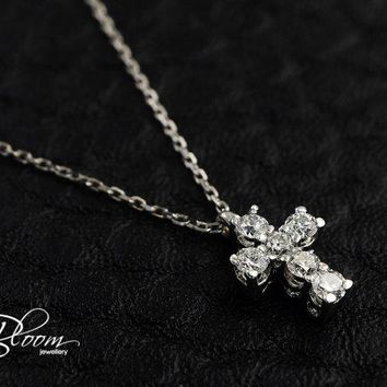 Real Diamond Cross Necklace 18K White Gold Cross Necklace Delicate Diamond Necklace Solid Gold Diamond Cross Pendant Solid Gold