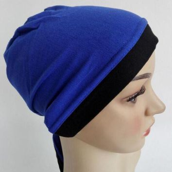 ESBU3C chemo bonnet cap Headwrap jersey 2 tone hat back tie under hijab hijab mixed 9 Colour 12pcs/lot free ship