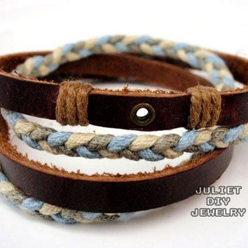 Multi strand mixed color hemp cord woven leather bracelet