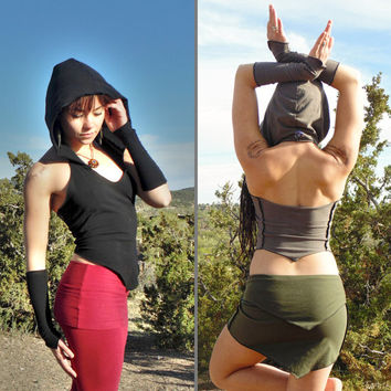 Hara Halter & Arrakis Arm Warmers: Hooded halter top with matching wrist cuffs. Backless top. Burning Man festival dance costume. S M L.