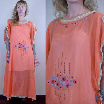 Vintage 1920's Sherbet Orange Sheer Cotton Embroidered Floral Bohemian House Dress