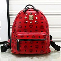 MCM Backpack Girl Boy Bag Backpack B-LLBPFSH red