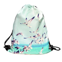 Pelican Beach Drawstring Bag