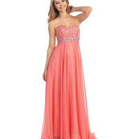 Coral Chiffon & Beaded Strapless Sweetheart Gown Prom 2015