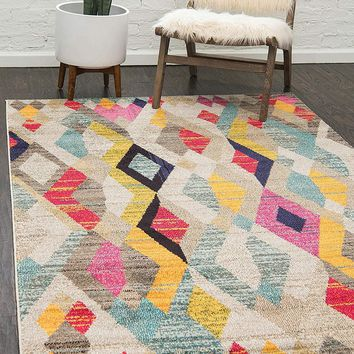 0171 Multi Color Tribal Contemporary Area Rugs