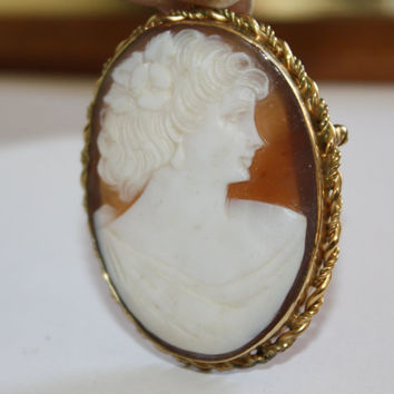 Victorian Cameo Pendant Brooch  1930s Jewelry 12kt GF 1920s Jewelry Carved Shell