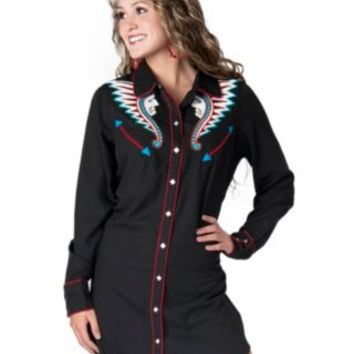Cowgirl Justice® Women's Black Kilaja Indian Long Sleeve Retro Shirt Dress