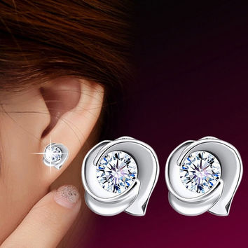 1Pair Cute Women Lady 925 Silver Plated Retro Rose Crystal Ear Stud Earrings = 1706181380
