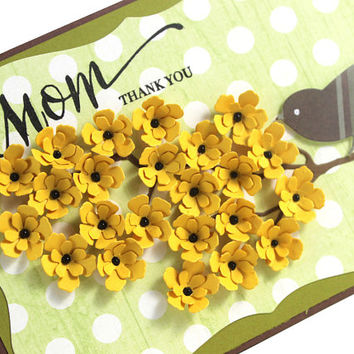 Mother's day card, Mom, Thank you Card, Handmade Card, Bird Card, Yellow Blossoms, Floral Cards