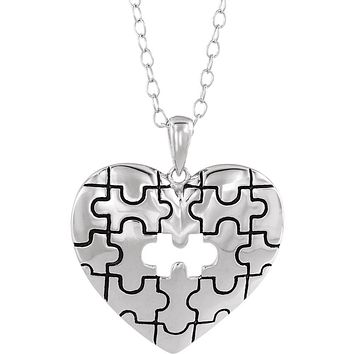 Rhodium Sterling Silver A Piece of My Heart Puzzle Necklace, 18 Inch
