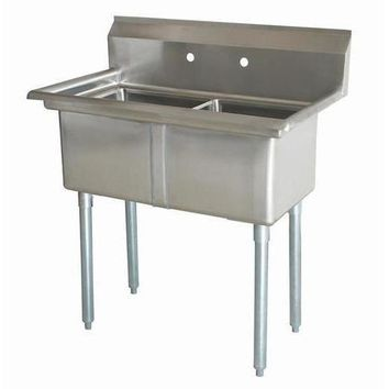 "Stainless Steel 2 Compartment Sink 45.5"" x 26"" No Drainboards"