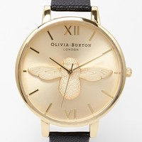 Olivia Burton Bee Face Leather Strap Watch