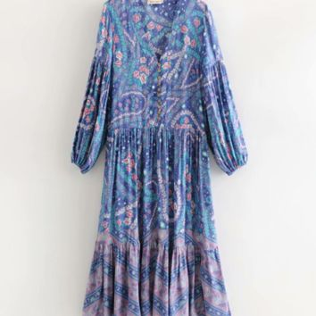 New Bohemian Vintage FP Purple Print Long Dress