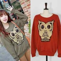 Fashion Cartoon New Korean Womens Loose Pullover Owl Hoodie Coat Tops #E37