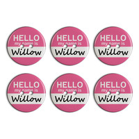 Willow Hello My Name Is Plastic Resin Button Set of 6