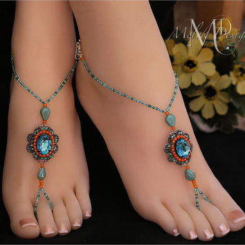 Coral Turquoise Aqua Beaded Focal Barefoot Sandals
