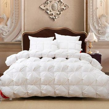 PEAP78W Luxury 100%goose down white plaid king queen or 220*240 or 200*230 comforter double size bed winter blanket nobel quilt set