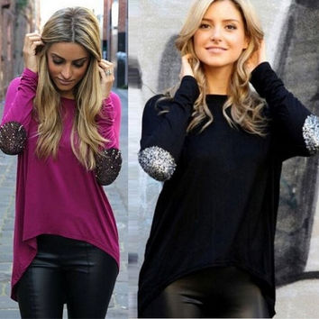 2015 Autumn New Casual Glitter Stitching Long Sleeved Irregular T-shirt Blouse for Women