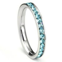 316L Stainless Steel Aquamarine Light Blue Cubic Zirconia CZ Eternity Wedding 3MM Band Ring