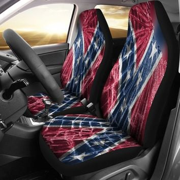 Broken Glass Confederate Flag Seat Covers