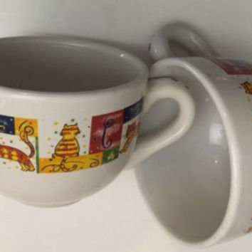Royal Norfolk Set of 2 Lg. Coffee Mugs Cats Pattern Soup Cereal Ceramic Tea Cup