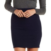 Navy Ribbed Pencil Skirt by Charlotte Russe