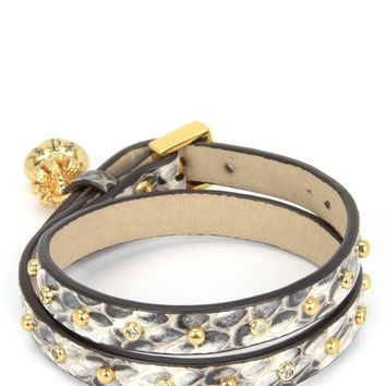 Natural Watersnake Studded Leather Double Wrap Bracelet by Juicy Couture, No