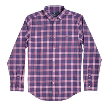 Custom Silver Peak Plaid Performance Flannel Classic Tucker Shirt in Barberry by Vineyard Vines