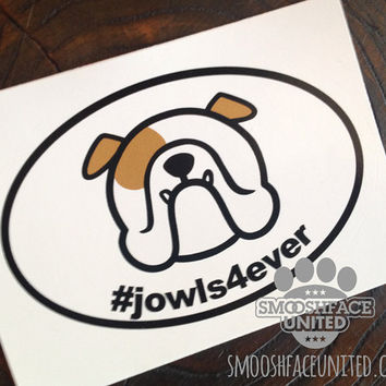 English Bulldog decal - '#jowls4ever'- bold black & white oval sticker - #bullylove